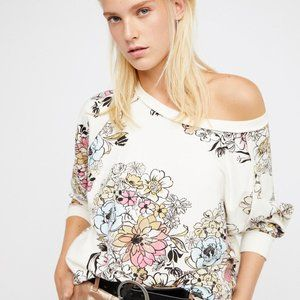 Free People Go On Get Floral Pullover Top L US
